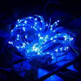 Glumes Solar LED String Fairy Lights |100 LED 32.8FT/10 m |Hanging Indoor Outdoor Decoration for Christmas Party Wedding Holiday Birthday Garden Patio Bedroom 2 Pcs (Blue)