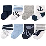 Kyпить Luvable Friends Unisex 8 Pack Newborn Socks, Nautical, 0-6 Months на Amazon.com