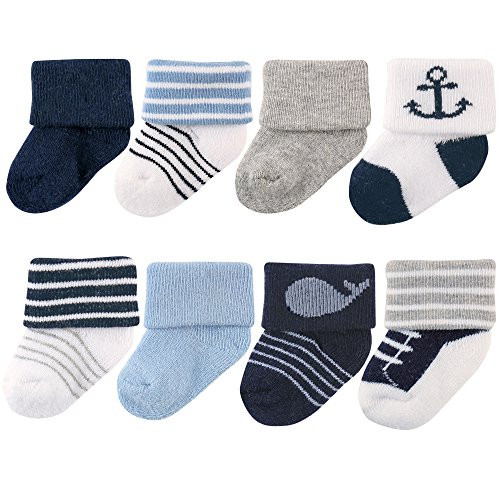 Luvable Friends Unisex 8 Pack Newborn Socks, Nautical, 0-6 Months ()