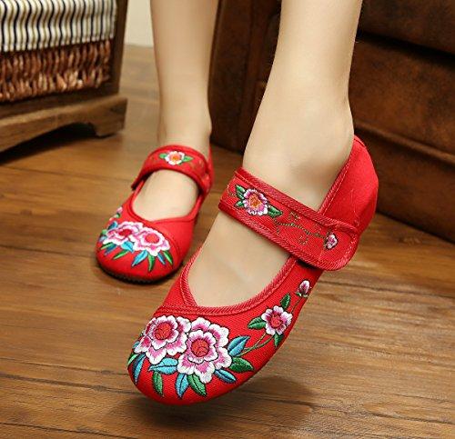 donna stile scarpe a tendina etnico Scarpe ricamate moda xiuhuaxie suola dell'aumento casual comodo red GuiXinWeiHeng da all'interno wfnqYvgC