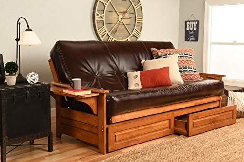 Kodiak Furniture KFPHDBBOTJLF5MD4 Phoenix Futon Set with Oregon Trail Java Mattress and Storage Drawers, Full, Barbados - Full Futon Sleeper