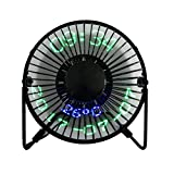 USB LED Fan JUSTUP Portable Desk Fan With Real Time Date and Temperature Display Personal Table Cooling Fan 360°Rotation Durable for Home and Office (Metal Design Low Noise 5 Inch, Black) (SW)