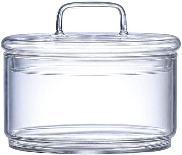 Glass Candy Sweet Jar with Lid, Decorative Sugar Bowl Jar Covered Elegant Cookie Dish Buffet Storage Container Clear, Ideal For Home, Office and Party Wedding