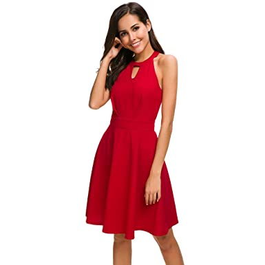 f50a5b87fab2c Women's Halter Backless Sexy Keyhole Neck A-Line Cocktail Party Skater Dress  Elegant Red