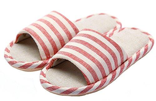 HW-GOODS-Womens-Red-Stripe-Open-Toe-Hemp-Slippers