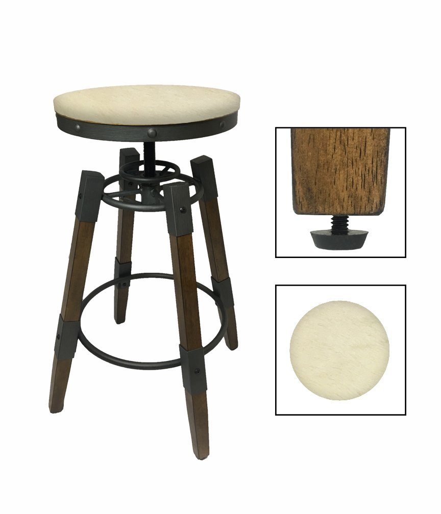 """1 - Adjustable 25""""- 30"""" Tall Industrial Wood and Metal Swivel Seat Bar Stool Featuring an Authentic Solid White Cowhide Covered Seat Cushion"""