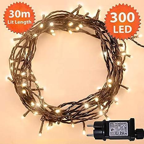 Luci stringa 100 LED luminoso bianco stringa di luce 8 funzioni/10 metri-funzionamento Power LED stringa di luci-ideale per decorazioni natalizie LED String luci (100 LED-10m)-cavo verde ANSIO ANSIO 2504