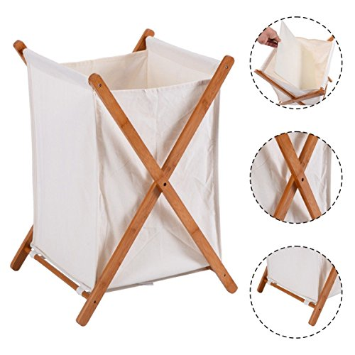 Eco Friendly Household Folding Bamboo X-Frame Laundry, Cloths Hamper Storage Bin Bag Basket Perfectly Design For Families, Individual Use, Dorms, Apartments (Furniture Bamboo Singapore Rattan)