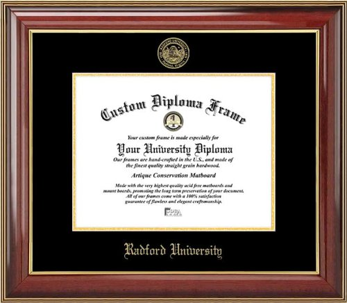 Radford University Highlanders - Embossed Seal - Mahogany Gold Trim - Diploma - Radford Diploma Frame University