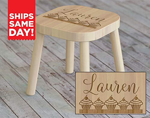 Kids Step Stool, Cupcakes, Gifts for Girls, Kids Name Stool, Kids Stool, Childrens Stool, Childrens Bench, Wooden Step Stool, Gift For Kids, Kids Name Stool, Christmas Gift Ideas for Kids ST08