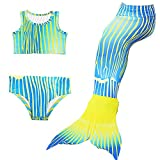 3Pcs Set Kids Girls Mermaid Tail Swimming Bikini Set Swimwear Mono Fin Swimming Costumes