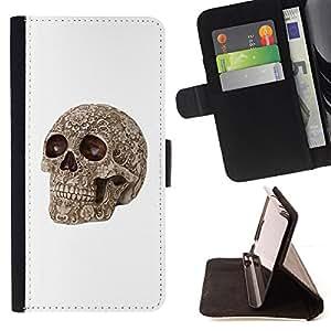 BullDog Case - FOR/Samsung Galaxy Core Prime / - / DEATH BROWN BONE SKULL DEATH BIKER /- Monedero de cuero de la PU Llevar cubierta de la caja con el ID Credit Card Slots Flip funda de cuer