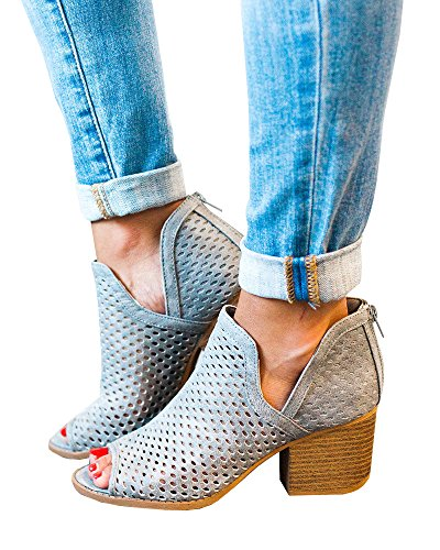 (Nailyhome Womens Perforated Booties Ankle V Cutout Block Chunky Low Heel Back Zipper Boots)