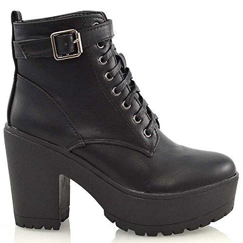 ESSEX GLAM Womens Synthetic Chunky Platform Cleated Sole Lace Up Ankle Boots (US 8, Black Synthetic ()