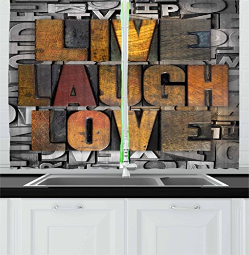Ambesonne Live Laugh Love Kitchen Curtains, Saying Promoting The Values of Human Life in Colorful a Pattern, Window Drapes 2 Panel Set for Kitchen Cafe, 55 W X 39 L Inches, Brown Grey (Panels Curtain Graphic)