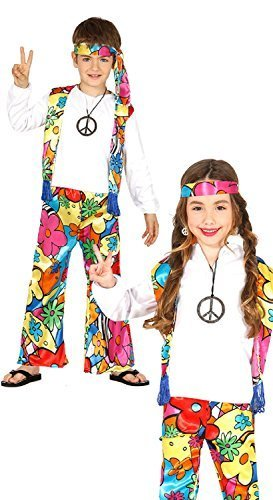 Boys or Girls Bright 1960s 1970s Hippie Hippy Woodstock Peace Love 60s 70s Fancy Dress Costume Outfit 3-12 years (3-4 years)]()