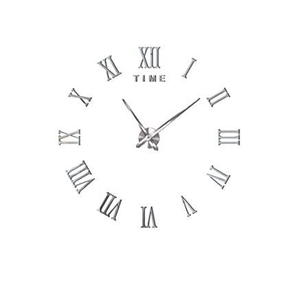 YUNOLL Reloj De Pared DIY Desmontable Creativa Romana Inglés Acrílico Digital De Gran Tamaño Pegatinas De