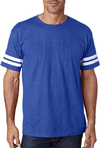 Lat Sportswear Men's Stripes Football T-Shirt_Vintage Royal/ Blended (Football Vintage T-shirt)