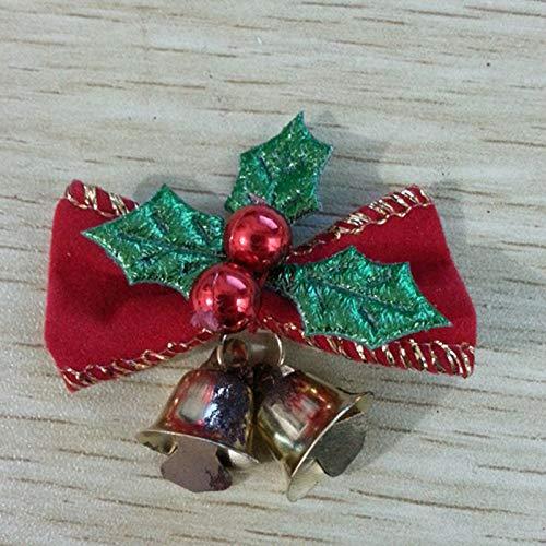 VADOLY 5Pcs Christmas Tree Bells Decoration Bow Ribbon Bow Gift Hanging Hamper