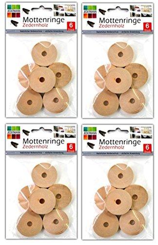 24 Stück Mottenringe aus Zedernholz   Mottenschutz   Kleidermottenschutz