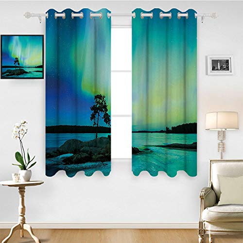 SATVSHOP Lush Decor Hotel Collection Window Curtain - 55W x 72L Inch-Northern Lights Single Tree Over ocky Stone by iver Borealis Earth Beauty Image Teal Blue Lime Green.