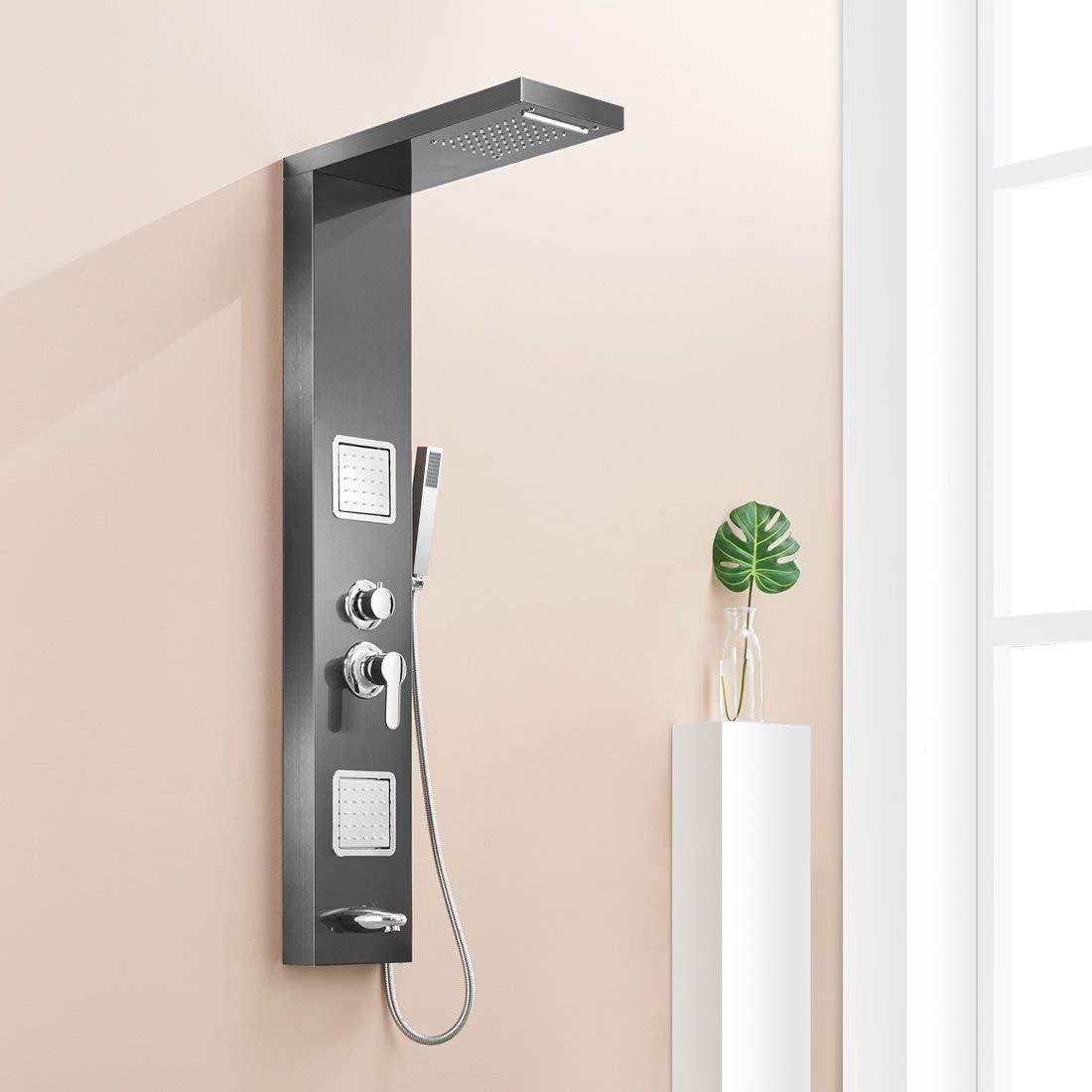WYH Panel de ducha de lluvia para baño Níquel cepillado con ...
