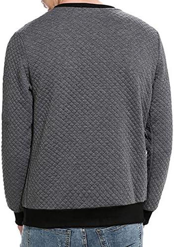 TENGGO Männer Herbst Freizeit Polyester Langarm Lose Reine Farbe O-Ausschnitt Kragen Pollover Sweatshirt-Dunkelgrau-L Dunkelgrau