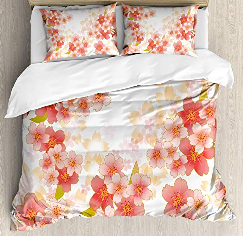 Floral Duvet Cover Queen, Japanese Sakura Flowers Cherry Blossoms in Vibrant Colors Illustration, 4 Piece Bedding Comforter Cover Set with 2 Pillow Shams, Coral Dark Coral Yellow (Cherry Blossom Illustration)