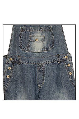 8 Womens Denim Clove Adjustable 22 Dungarees Straps Leg Blue Size Straight Capri vxq1dYqw