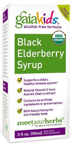 Gaia Kids Black Elderberry Syrup, 3-Ounce Bottle, Health Care Stuffs