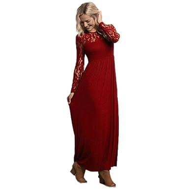 Kleid damen Kolylong® Frauen Elegant Spitze Lang Kleid Vintage Langarm Spitzenkleid  Festlich Ballkleid Strandkleid Cocktail Party Kleid Abendkleid Kleid der ... e8cdabb37a
