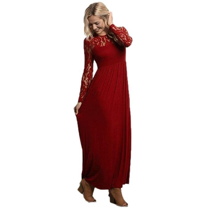 Kleid damen Kolylong® Frauen Elegant Spitze Lang Kleid Vintage ...
