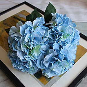 TiTa-Dong Artificial Silk 5 Heads Hydrangea Pu Flowers Blossom Bridal Bouquet for Home Wedding Birthday Party Garden Decor Cristmas Day Gifts 24