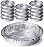 DecorRack Round 7 Inch Aluminum Pans with Dome Lid, Heavy Duty Tin Foil Pans, Perfect for Reheating, Baking, Roasting, Meal Prep, to-Go Containers, Environmentally Friendly
