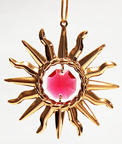 24K Gold Plated Hanging Sun Catcher or Ornament..... Sun With Red Swarovski Austrian Crystals ()