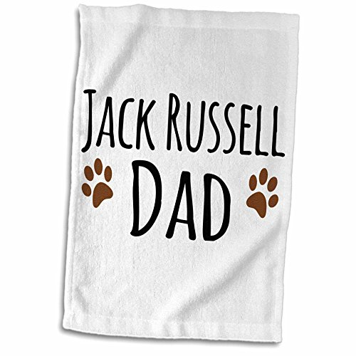 3dRose Jack Russell Dog Dad Breed-Muddy Brown Paw Prints-Doggy Lover Proud Pet Owner Love Towel, 15