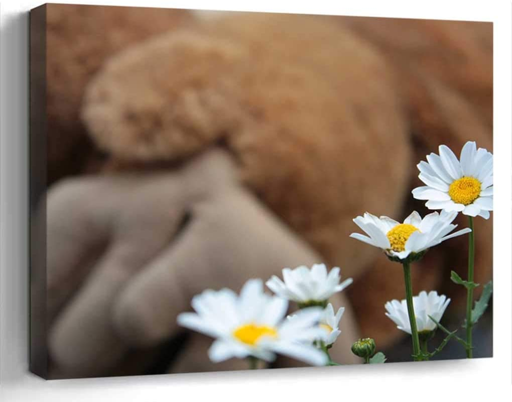 Wall Art Canvas Print Home Decor (20x14 inches)- Daisy Flower White Yellow Nature Summer Clea