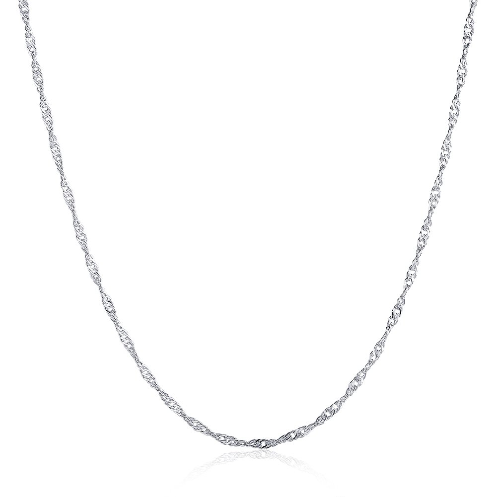 JOLI JEWELRY Hotsale fashion 1.5mm Platinum plated Water-wave dainty necklace chain for women, 20''
