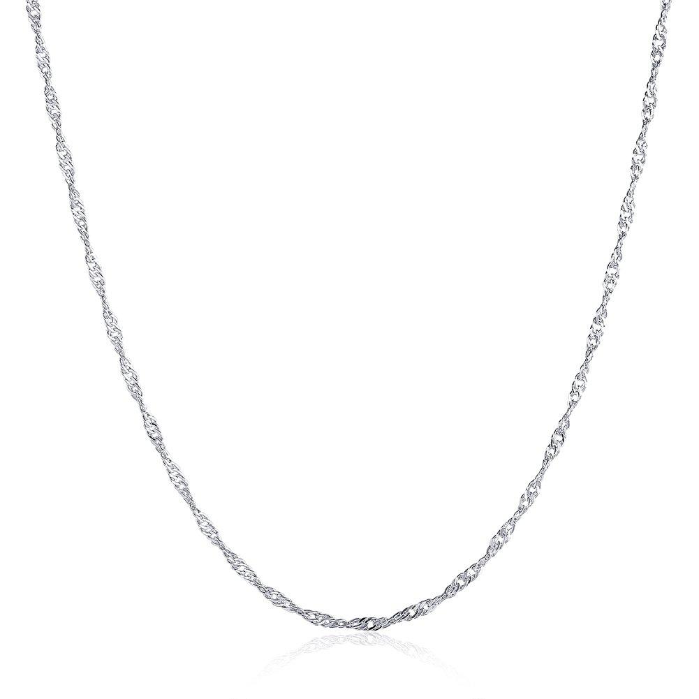JOLI JEWELRY Hotsale fashion 1.5mm Platinum plated Water-wave dainty necklace chain for women, 20'' by JOLI JEWELRY (Image #1)