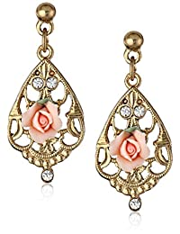 1928 Jewelry Gold-Tone Color Porcelain Rose with Crystal Accent Filigree Drop Earrings