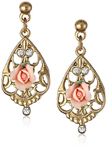 1928 Jewelry Porcelain Pink Rose and Crystal Mosaic Gold Drop - Rose Porcelain Earrings