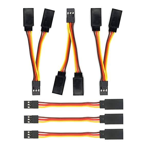 GTIWUNG 6Pcs Cable de Extension Servo Servo Cable de Extensi/ón JR Receptor Enchufes Conectores 75mm Jr Servo Extensi/ón Cable de Extensi/ón Servo Y Divisor para JR Futaba RC Accesorios