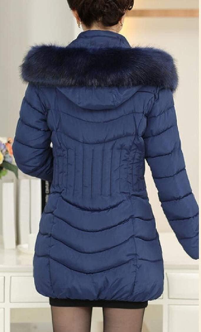 XQS Womens Long Sleeve Slim Fit Mid Long Faux-Fur Collar Down Jacket Coat