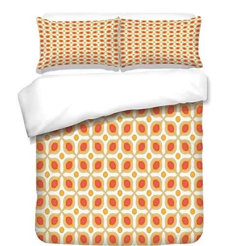 iPrint 3Pcs Duvet Cover Set,Geometric,Linked Bold Geometric Shapes 70s Vintage Style Minimalist Pattern Boho Home Decor,Orange Cream,Best Bedding Gifts for Family/Friends ()