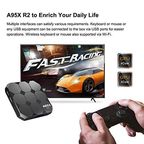 Sawpy A95X R2 Android TV Box Android 7.1 Smart TV Box CPU 2GB +16GB 64bit Quad Core 4K UHD WiFi & LAN VP9 DLNA H.265