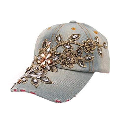 BCDshop Women Rhinestone Flower Baseball Cap Summer Lady Blue Retro Denim Hats (E)
