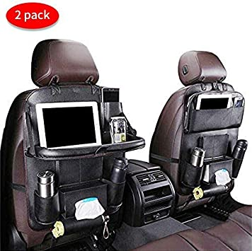 Against Dirty and Kicks EASY EAGLE Car Seat Organiser PU Leather Car Backseat Storage Pockets with Foldable Tablet Holder 1 Piece