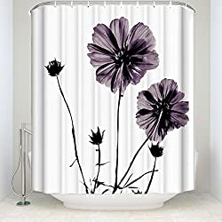 Crystal Emotion Purple, Black ¡§C Floral Printed Shower curtain 60x72inch