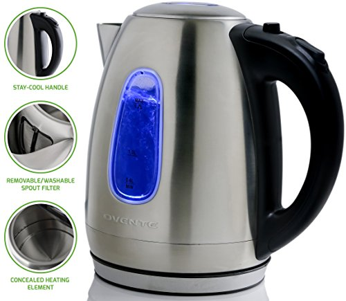 Ovente 1.7 Liter BPA-Free Stainless Steel Cordless Electric Kettle, 1100-Watts, Auto Shut-Off and Boil-Dry Protection, Matte Black Cool-Touch Handle, Nickel Brushed (KS96S) image
