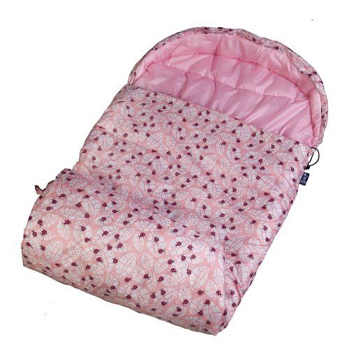 Stay Warm Sleeping Bag, Wildkin Children's Sleeping Bag with Attached Hood and Matching Storage Bag, Water-Resistant Microfiber, Temperature Rated at 30 Degrees Fahrenheit, Ages 5+, Lady Bug Pink